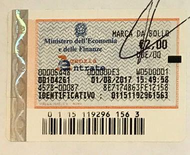Una marca da bollo usata anche dai Compro Oro